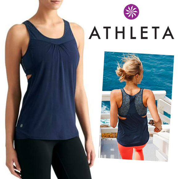 892f6e0755ce37 Athleta Tops - Athleta Gel Supercharged Tank Top Navy dotted S