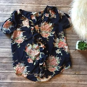 Joie Floral Button Down Blouse Size S