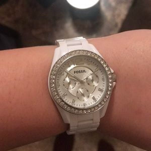White sparkly Fossil watch