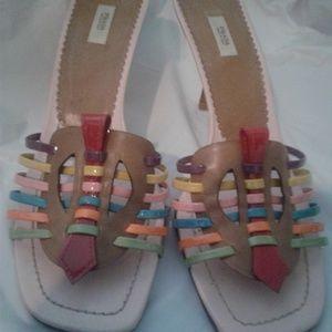 Prada multi-color kitten heel sandals