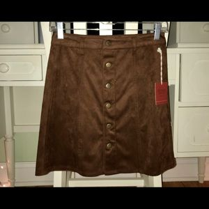 Brown Suede Button-Up Skirt