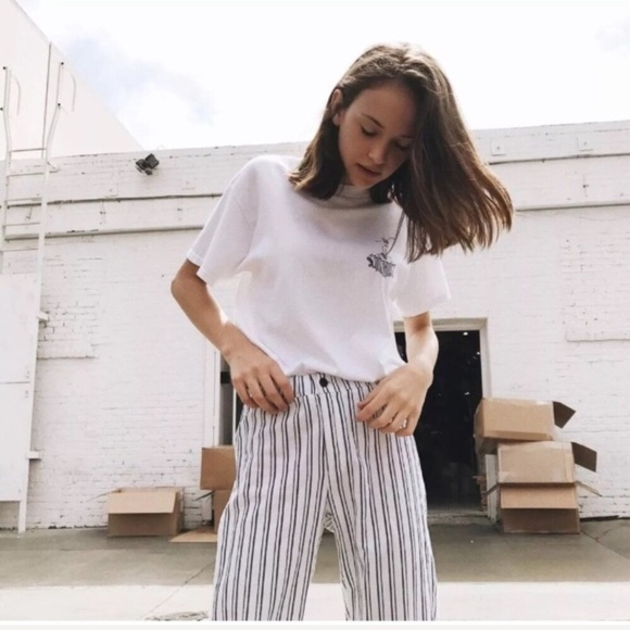 348f94a4037 Brandy Melville Pants | White Striped New | Poshmark