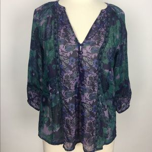 Joie Purple Floral Silk Sheer Blouse