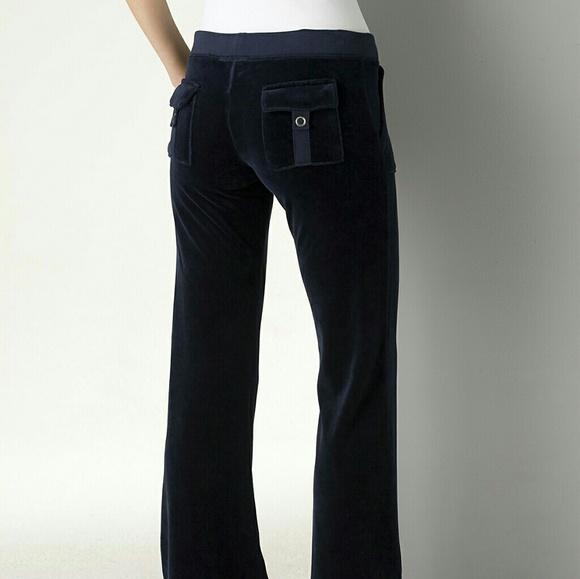 Juicy Couture Pants Jumpsuits Velour Track Pants Snap Pockets Navy Poshmark