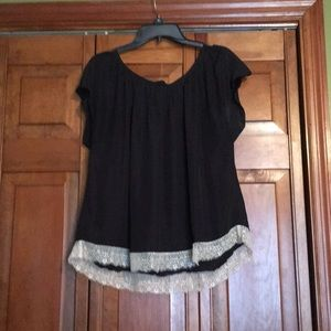 Black blouse with white lace trim