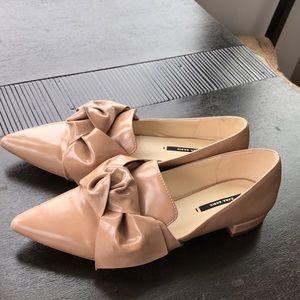 Zara blush bow-detail pointes flats