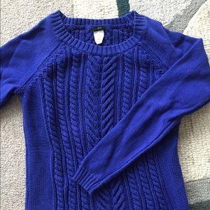 J crew cotton cable knit sweater cobalt blue sz s