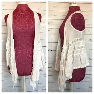 Flowy Cream Lace Vest
