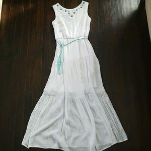 Beautiful teal gemmed long dress.