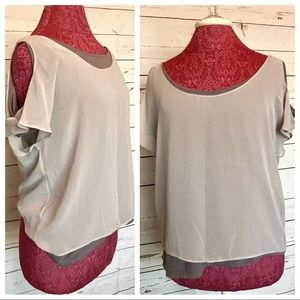 Double Layered Gray Cold-Shoulder Blouse