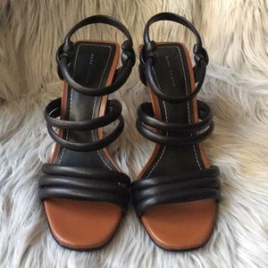 ZARA Women Black Leather High Heel Sandals 8 EU39