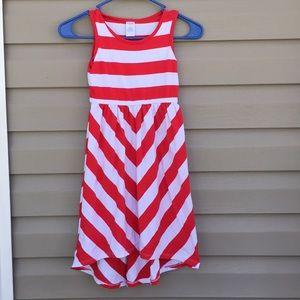 Gymboree girls red/ white striped hi/low dress