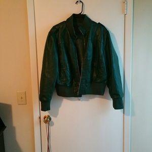 Jackets & Blazers - Green faux leather jacket