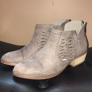Tan/Gray Suede Booties Size 8