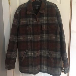 BANANA REPUBLIC Men's Wool Blend Plaid Coat Zipper