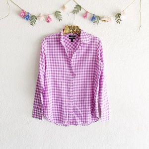 J. Crew Boy Shirt in Purple Gingham