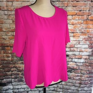 NWT EVERLY Scallop Blouse Top Size M
