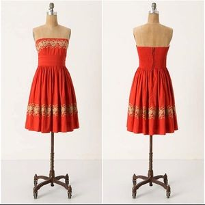 ANTHROPOLOGIE~ Strapless Embroidered Dress