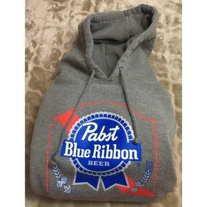 Pabst Blue Ribbon Beer Men's Gray Logo Hoodie XL