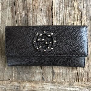 Gucci Brown GG Studs Women's Leather Wallet 231843