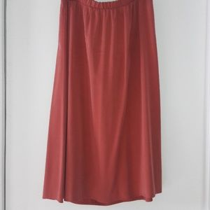 Deep Salmon Midi Skirt