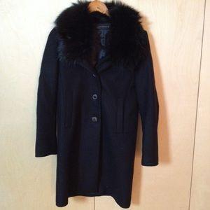 Zara Woman black wool coat lined sz S faux fur