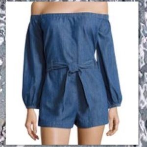 FREE PEOPLE OFF SHOULDER DENIM JUMPSUIT