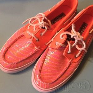 Pink and Orange Sperry Top Sider Boat Shoes