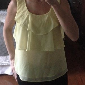 F21 yellow ruffles top