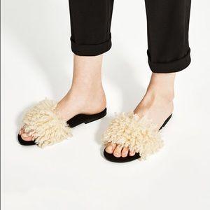 Zara Faux Fur Slides Size 8