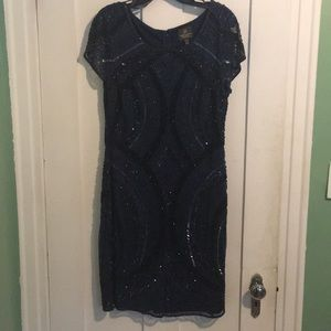 Adrianna Papell Beaded Cap Sleeve Dress 12