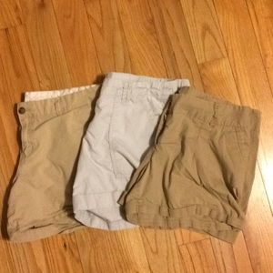 Khaki shorts in a set of threes.
