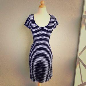 MAX STUDIO Navy Blue & White Dress Size L.
