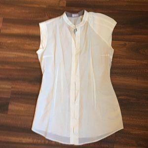 Brunello Cucinelli white cap sleeve blouse