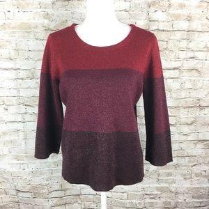 Anne Klein red gold metallic 3/4 sleeve sweater L