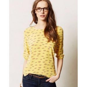 Anthropologie Maeve | Yellow Silk Clouds 3/4 Top S