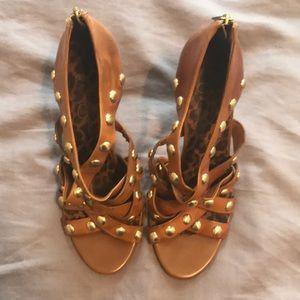 [Jessica Simpson] Tan & Gold Strappy Stilettos 👠