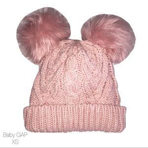 Baby GAP Pink Cable Knit Pom Pom Beanie XS