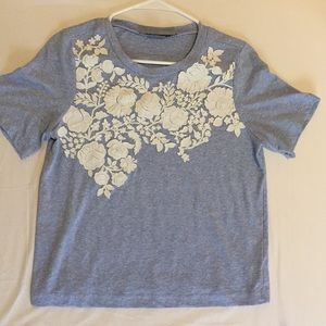 Anthropologie floral blue and white  top