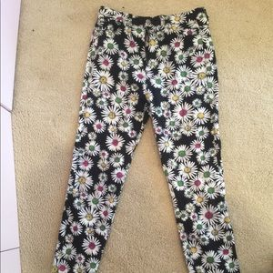 High waisted printed jeans