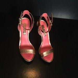 """BCBG Max Azria """"Finite"""" Rose-Gold strappy Sandals"""