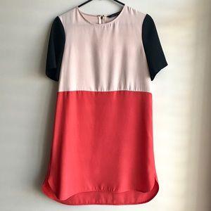 Zara Woman Colorblock Short Sleeves Shift Dress