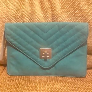 BCBGeneration teal leather envelope clutch NWT