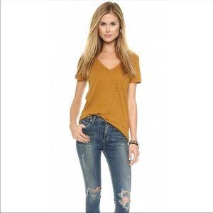 Madewell V-neck pocket Tee Shirt Top Spicy Saffron