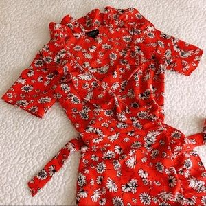 {topshop} floral wrap dress with ruffles