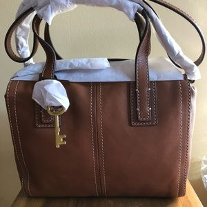 NWT Fossil Emma Satchel Brown