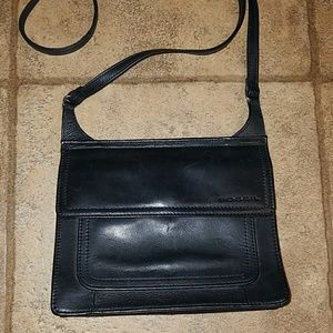 Vintage Fossil black leather crossbody bag