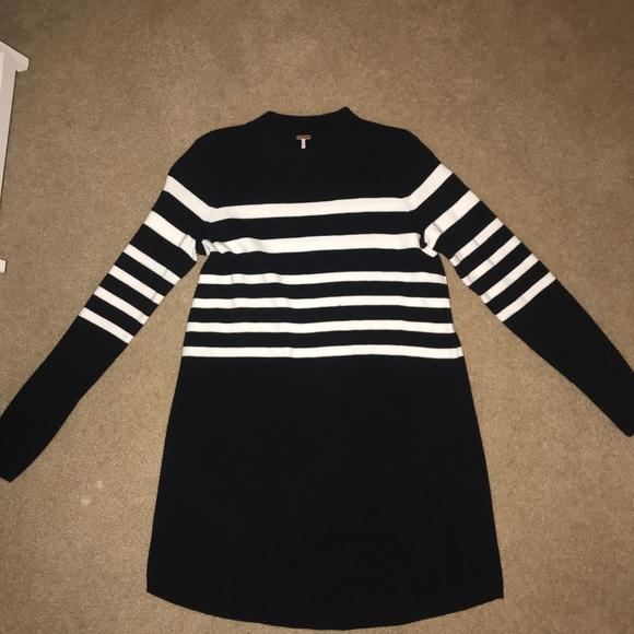Black White Striped Sweater Dresses