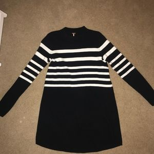 free people black and white striped sweater dress