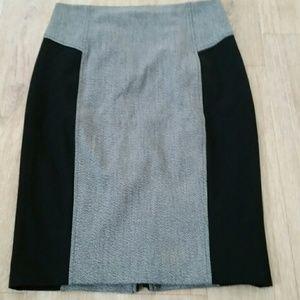 EXPRESS Size 8 Gray & Black Pencil Skirt